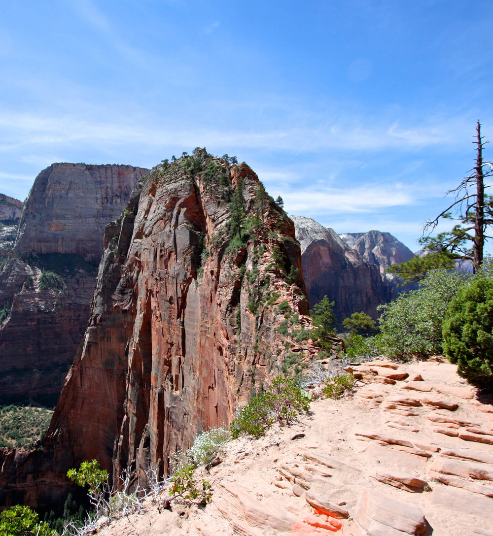 "The ""trail"" leading out to the area known as  Angel's Landing ."