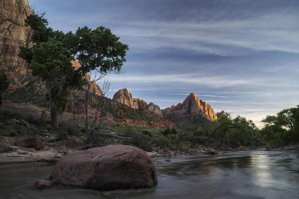 The Watchman and the Virgin River. Photo by Andrew Thomas - our Australian friend.