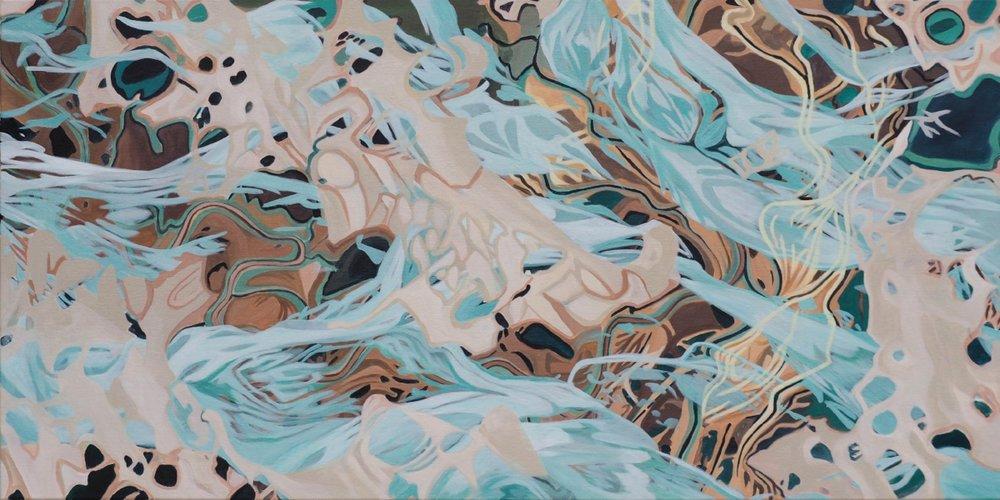 "Wake , 24"" x 48"", acrylic on canvas, 2017"