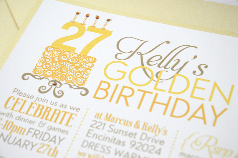Kellys Golden Birthday Invite – Golden Birthday Invitation