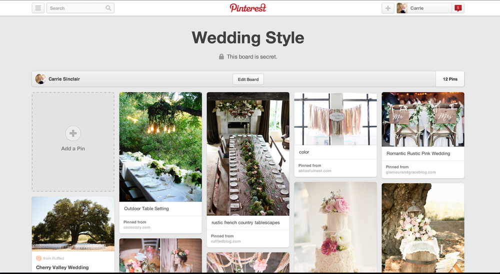 "Wedding ""inspiration board"" on Pinterest"