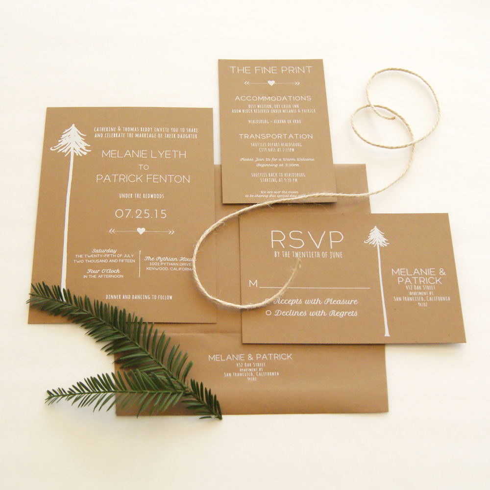 Redwood tree Invitations for Woodsy Weddings — Sonoma County Wedding ...