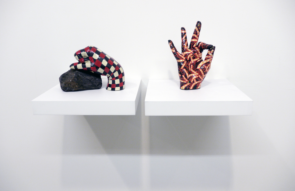 Carla Edwards. left:  Shaker Grid , hydrocal, acrylic paint, rock. variable. right:  Old Glory , hydrocal, acrylic, enamel. 2012.