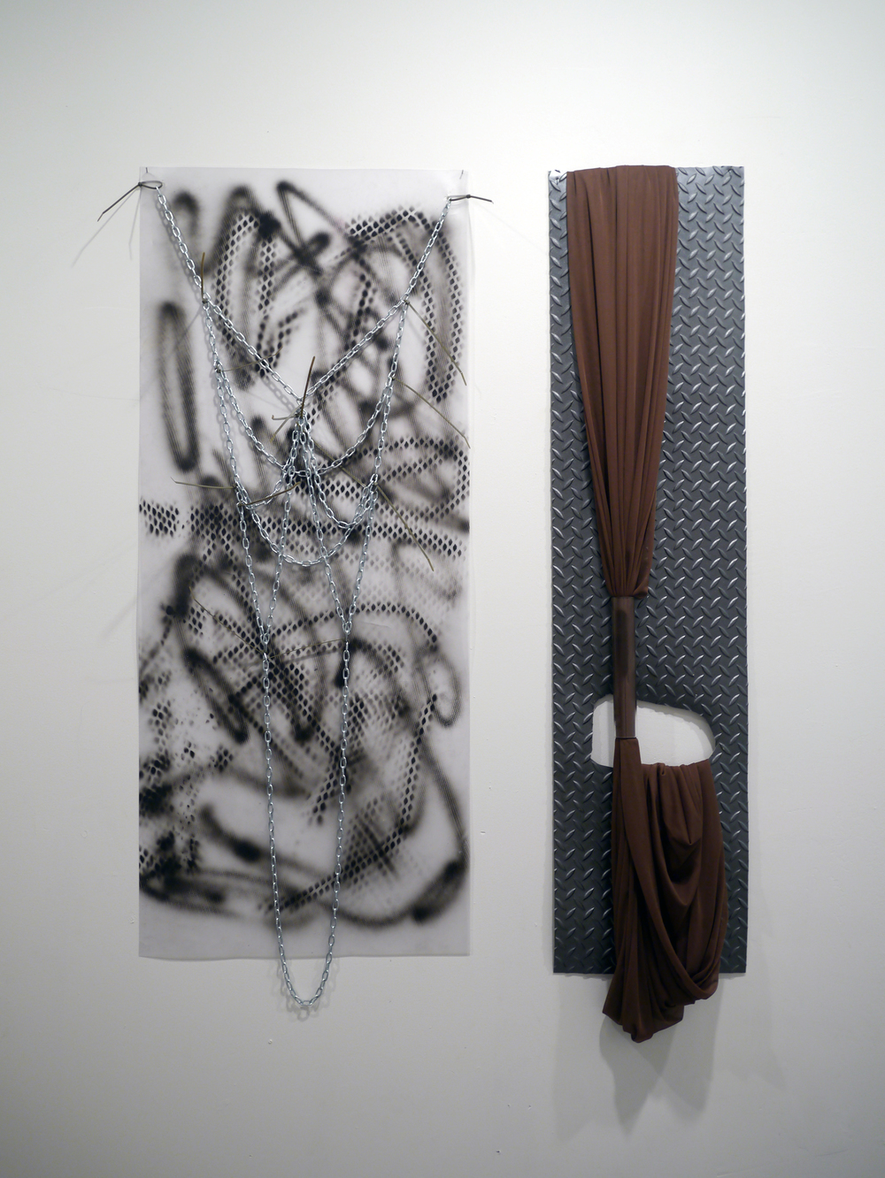 Raque Ford. left:  New York to Anaheim . plastic, painting, chains. 3.5' x 2'. right:  Not Tonight . Plastic, fabric. 4.5' x 1.5'.2013.