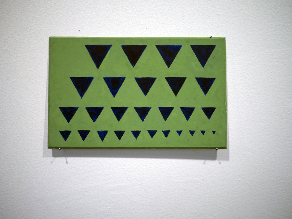 "Stephen Westfall.  Shark Teeth . qouche on board. 7.5"" x 4.75"". 2013."