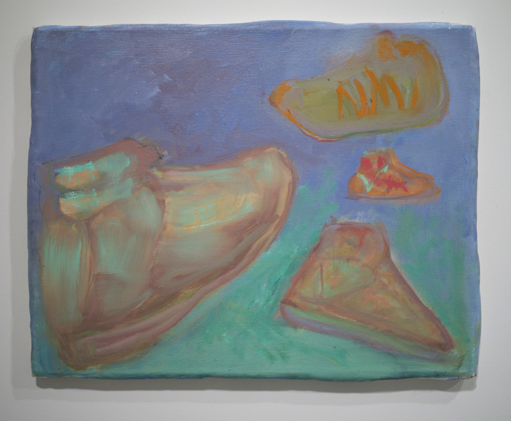 George Gittins.  Untitled (shoes I) . oil on canvas stretched over clay and wood. 16 inches x 20 inches (variable). 2013.