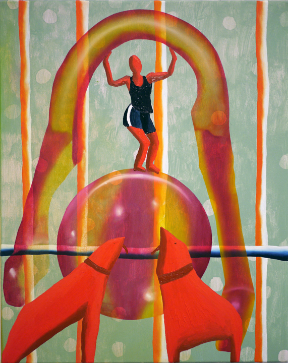 Veronika Pausova.  Bouncy Castle . Oil on canvas. 20 inches x 16 inches. 2013.