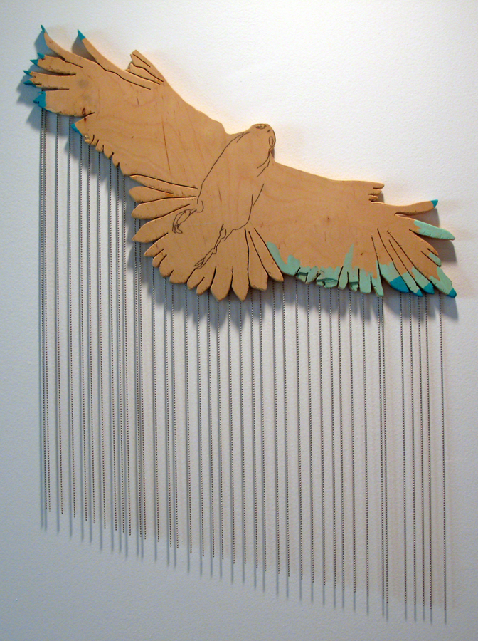 Gina Magid.   Soaring Hawk with Chains  . Oil paint, metal beads on wood. 2009.