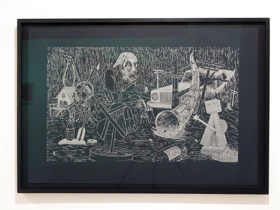 Aaron Spangler,  Sculpture Park  , Woodcut. 2009.