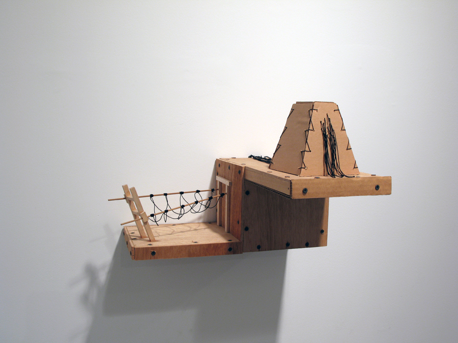 Adrian Meraz.   Night Spell: Cliff Agent  . Wood, cardboard and string. 2009.
