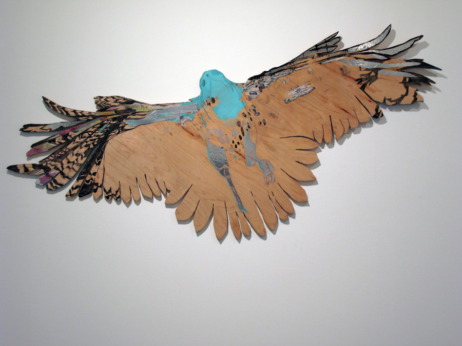 Gina Magid.   Soaring Hawk  . Oil paint, pastel on board.