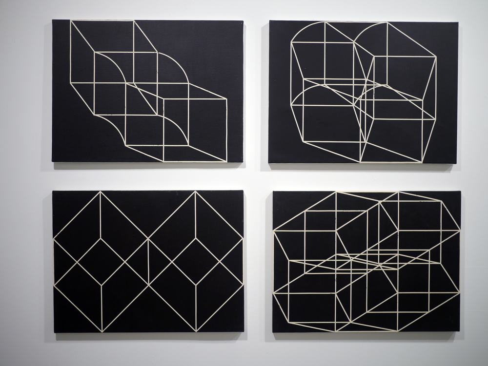 from top left:   Three . Acrylic on canvas. 18 x 24 inches. 2013.   Five . Acrylic on canvas. 18 x 24 inches. 2013.   Diamond Cubes . Acrylic on canvas. 18 x 24 inches. 2013.   Eight.  Acrylic on canvas. 18 x 24 inches. 2013.
