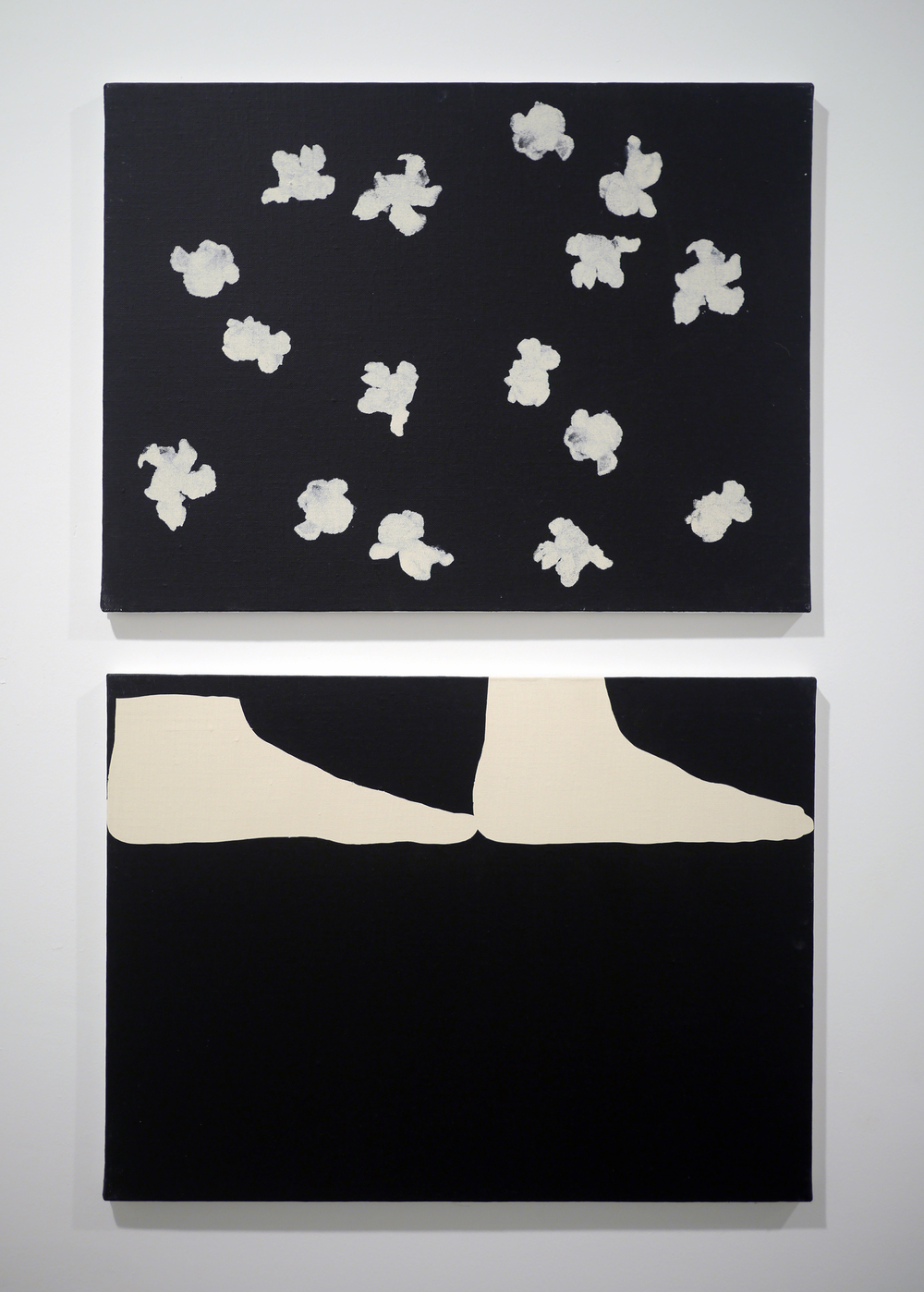 from top.   Popcorn Noise II . Acrylic on canvas. 18 x 24 inches. 2013.   Two Feet . Acrylic on canvas. 18 x 24 inches. 2013.