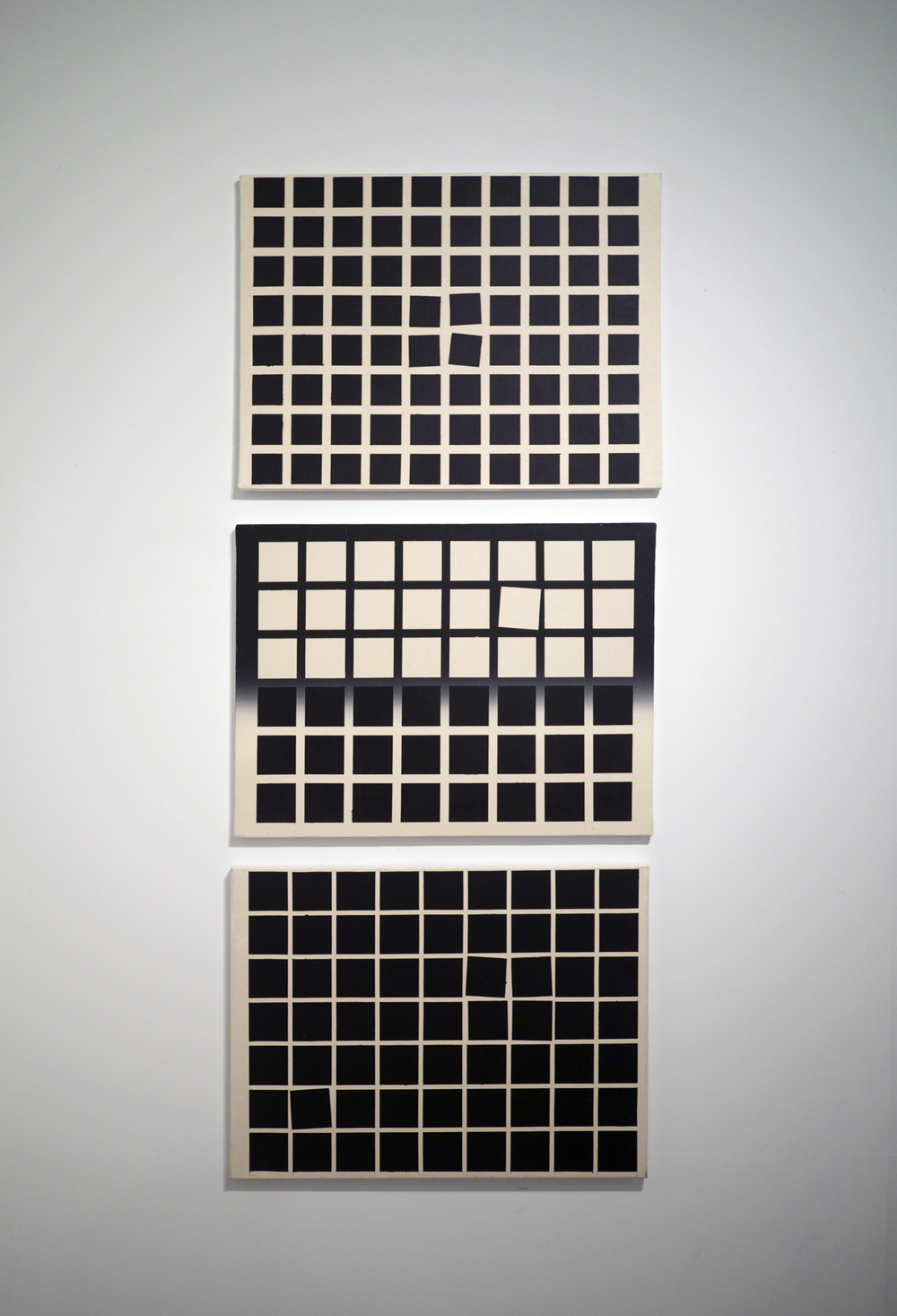 From the top:   Aversion to Order . Acrylic on canvas. 18 x 24 inches. 2013.   Recording Order . Acrylic on canvas. 18 x 24 inches. 2013.   Influence of Disorder . Acrylic on canvas. 18 x 24 inches. 2013.