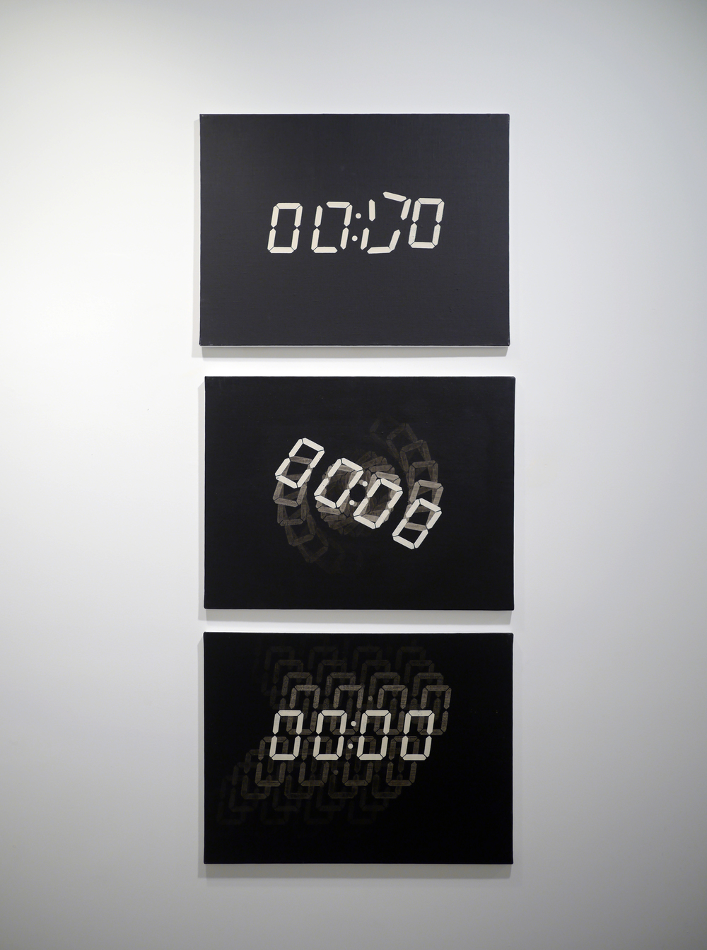 From the top:   Dissolution . Acrylic on canvas. 18 x 24 inches. 2013.   Less than a Second . Acrylic on canvas. 18 x 24 inches. 2013.   Folded Time . Acrylic on canvas. 18 x 24 inches. 2013.