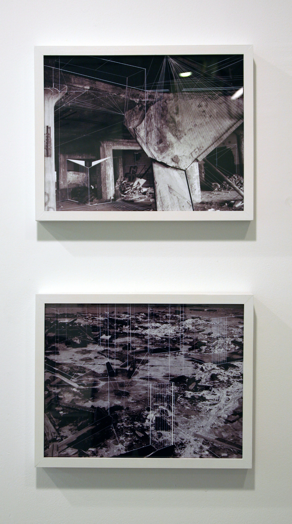 Yamini Nayar. from top:   Study 3, Study 1  . architectural drawing on photograph. both 10.5 x 13.5 inches.
