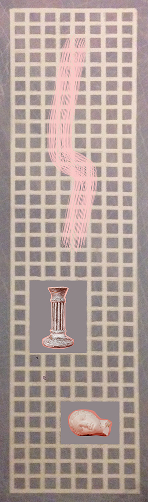 Pink Marble Column   Painting and Photographs on Canvas  16 inches x 56 inches  2014