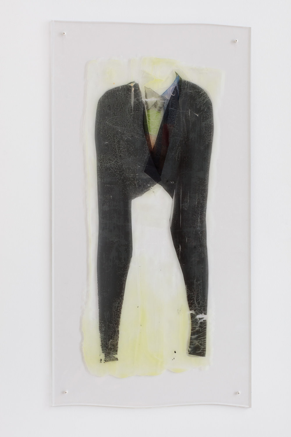 Sara Greenberger Rafferty   Body Suit with Tie   46.5 inches x 25 inches x .5 inches  Acrylic polymer and inket prints on acetate on Plexi, hardware  2016