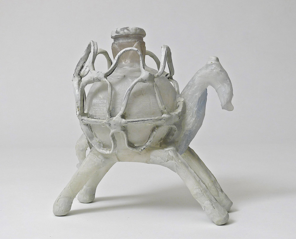 Shari Mendelson   Animal with Cage Cup White   9 inches x 5 inches x 8.5 inches  Plastic, hot glue, acrylic polymer, paper, found metal, resin  2015