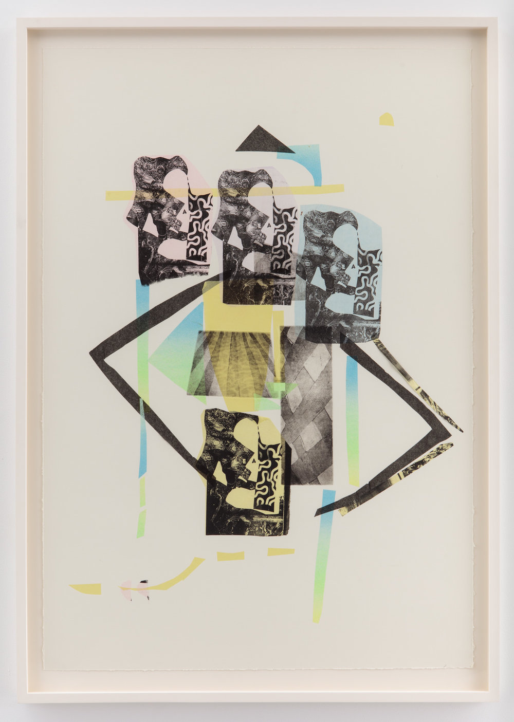 Players   Pronto plate, intaglio, chine collé print on Hahnemühle Copperplate paper  51 inches x 36 inches  2016