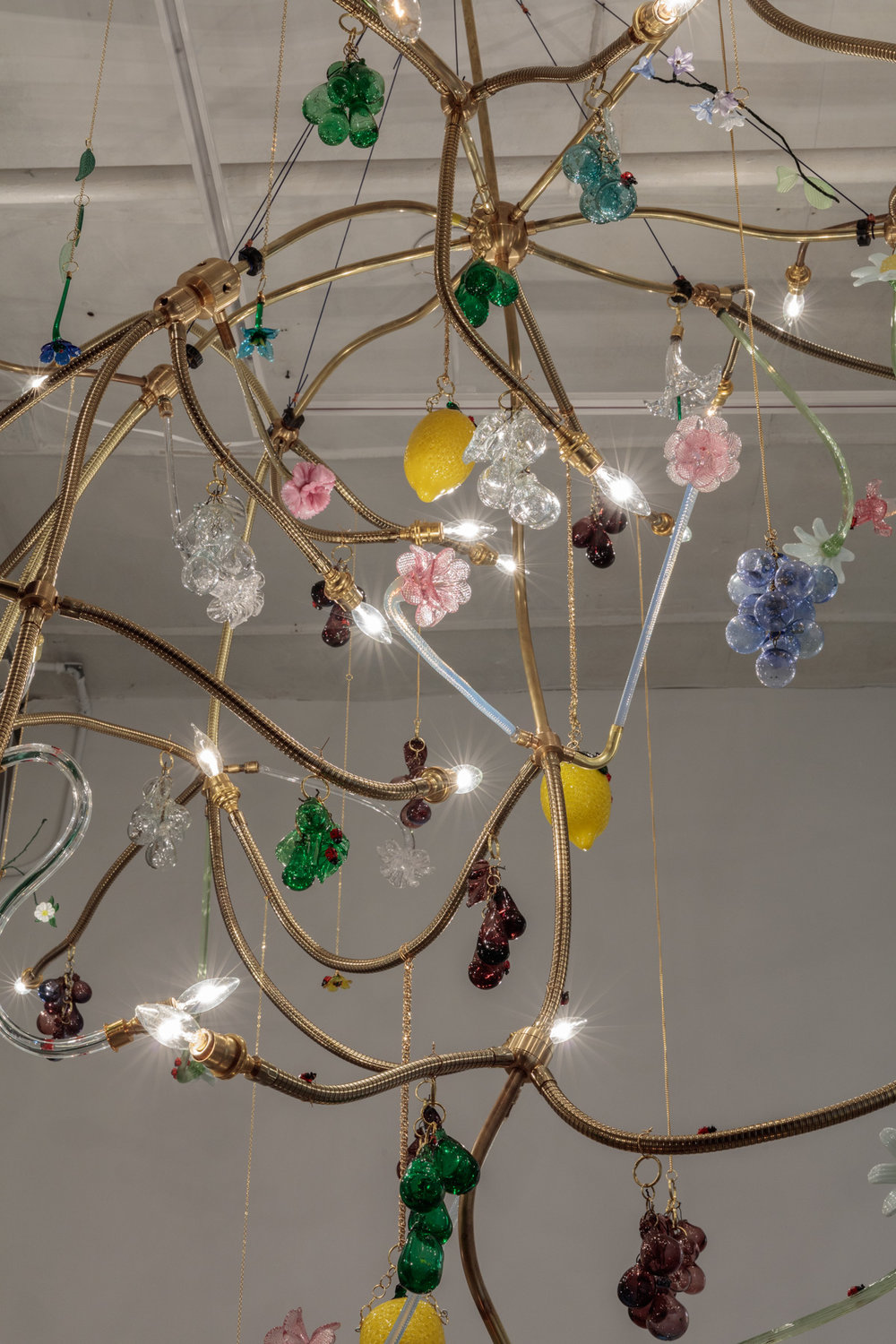 detail  Gardening   glass, bulbs, brass, wiring  112 inches x 84 inches x 84 inches approx  2017