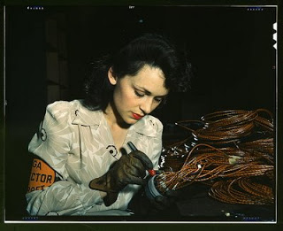 Pristine hair and lips while working, 1940s