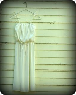 Cream 1970s dress