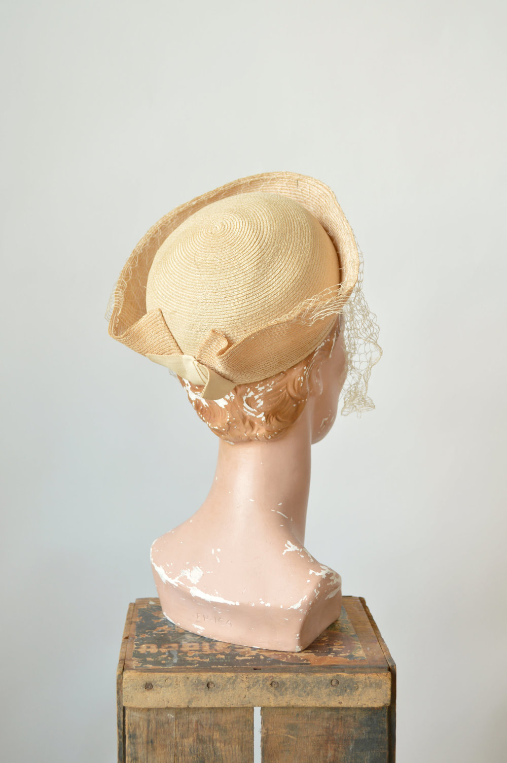 1940s straw hat with netting