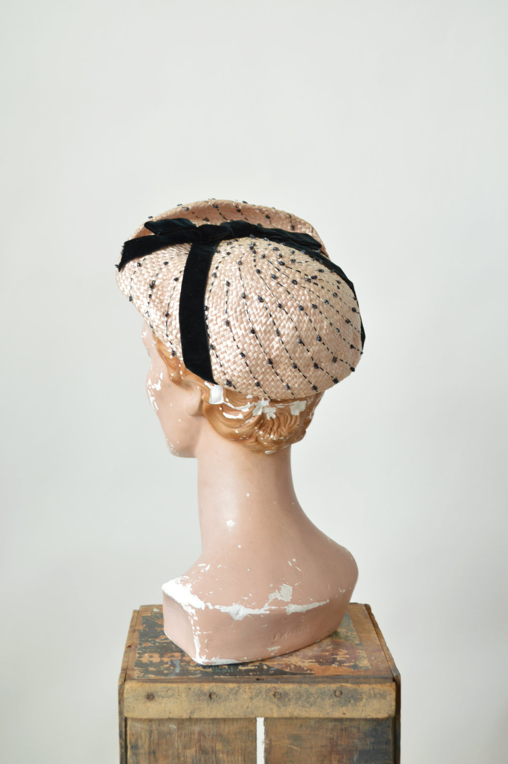 Vintage 50s hat with velvet trim