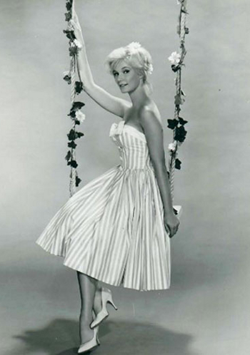 1950s spring strapless dress