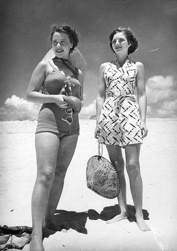 Girls in 1940s playsuits