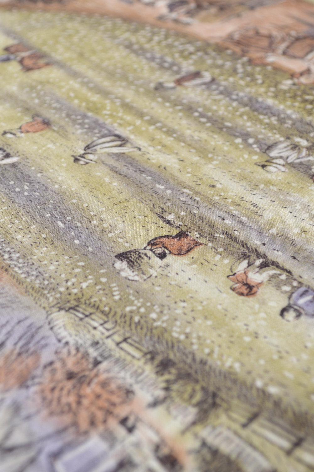 1950s Pastoral Print Fabric