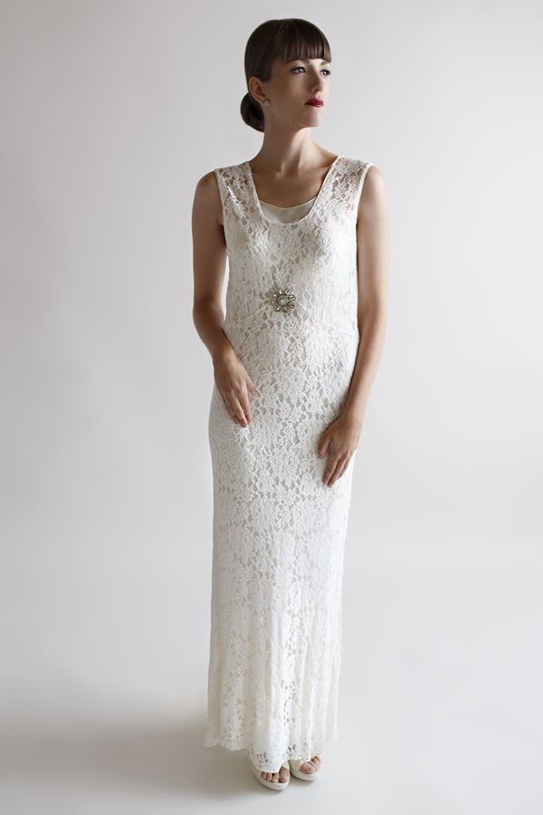 The Eve Gown, a vintage 1930s lace wedding gown from Beloved Vintage Bridal.