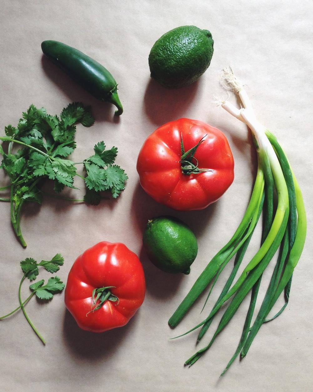Ingredients for Salsa Fresca. Photo by Deborah Hemming.