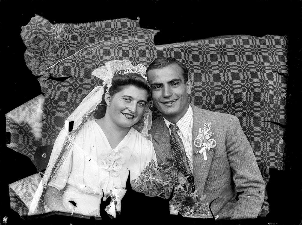 Vintage Romanian bride and groom. Photo by Costica Acsinte.