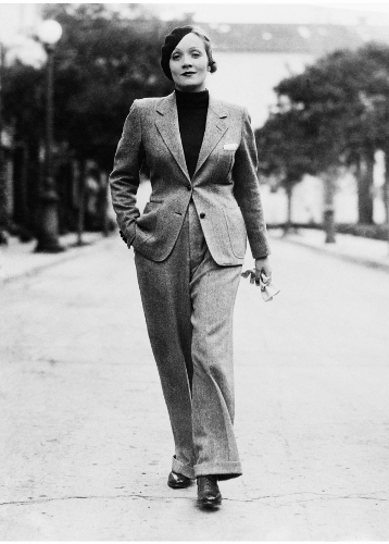 Vintage fashion icon Marlene Dietrich in the 1930s.