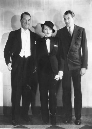 Vintage style icon, Marlene Dietrich in a tuxedo.