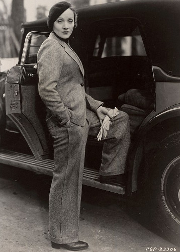 1930s fashion icon Marlena Dietrich in Hollywood.