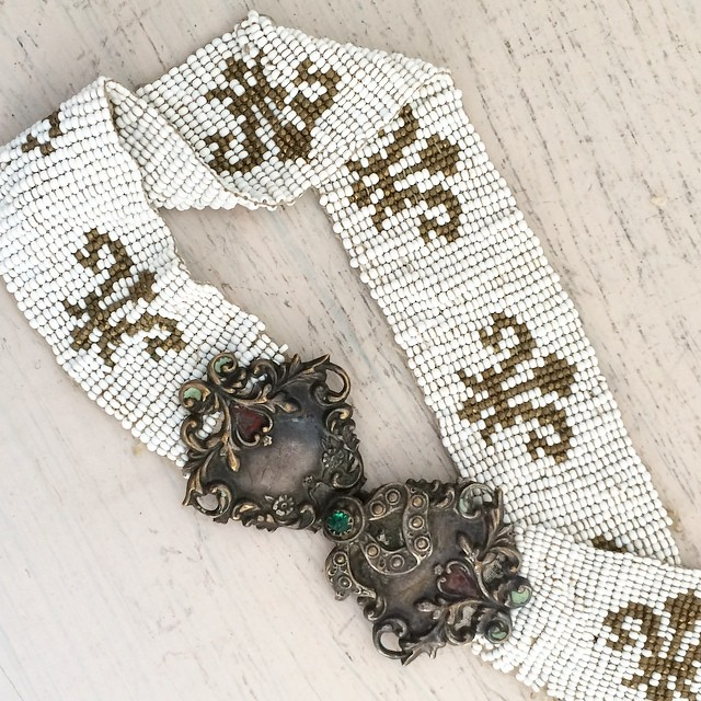 Antique beaded belt from No Carnations Instagram account.