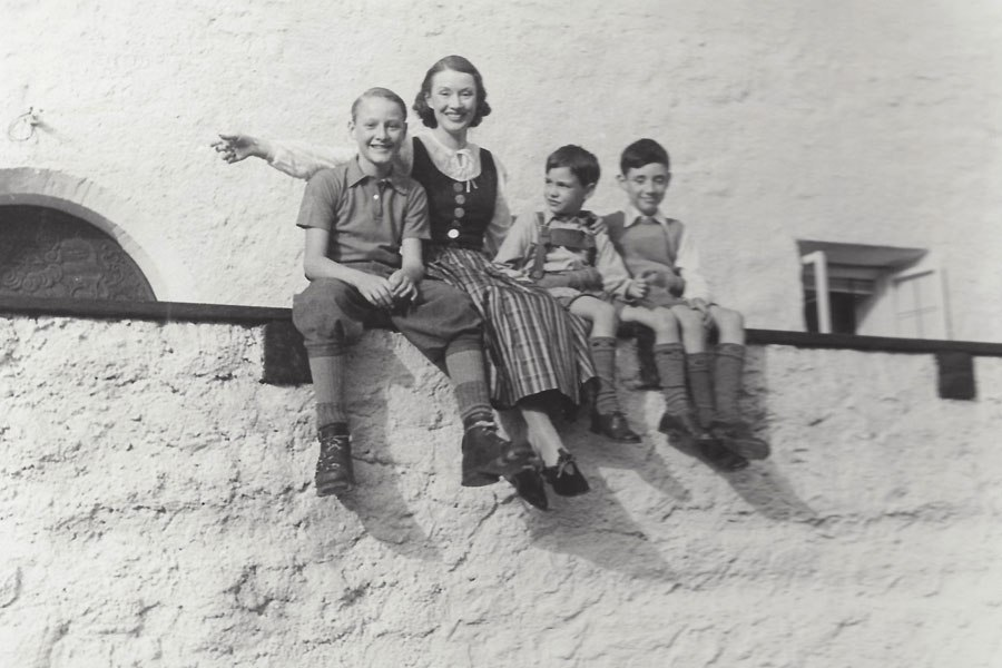 Vintage style icon, Millicent Rogers in Europe with her three sons.