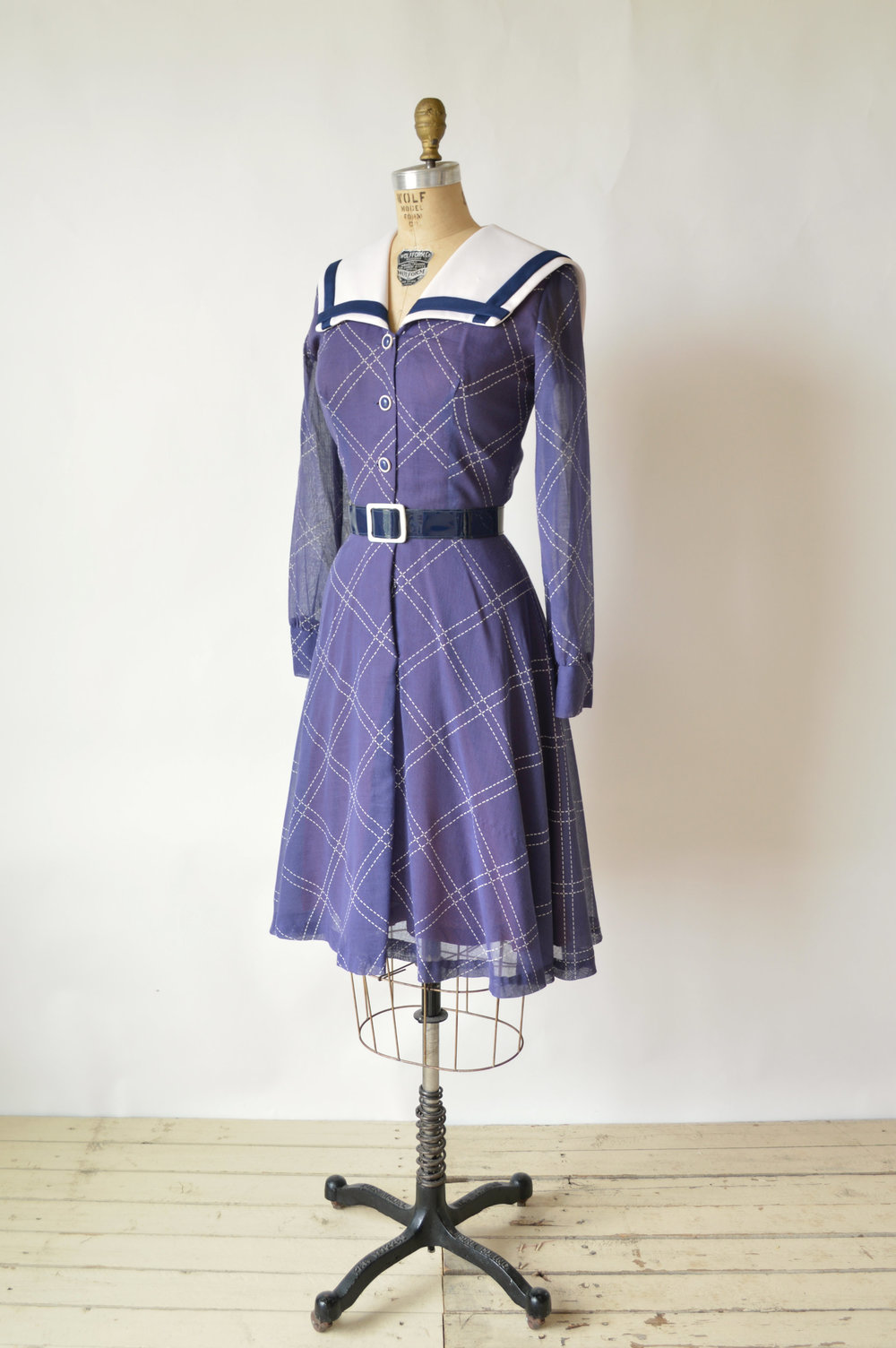 1960s Vintage Sailor Inspired Dress from Dalena Vintage
