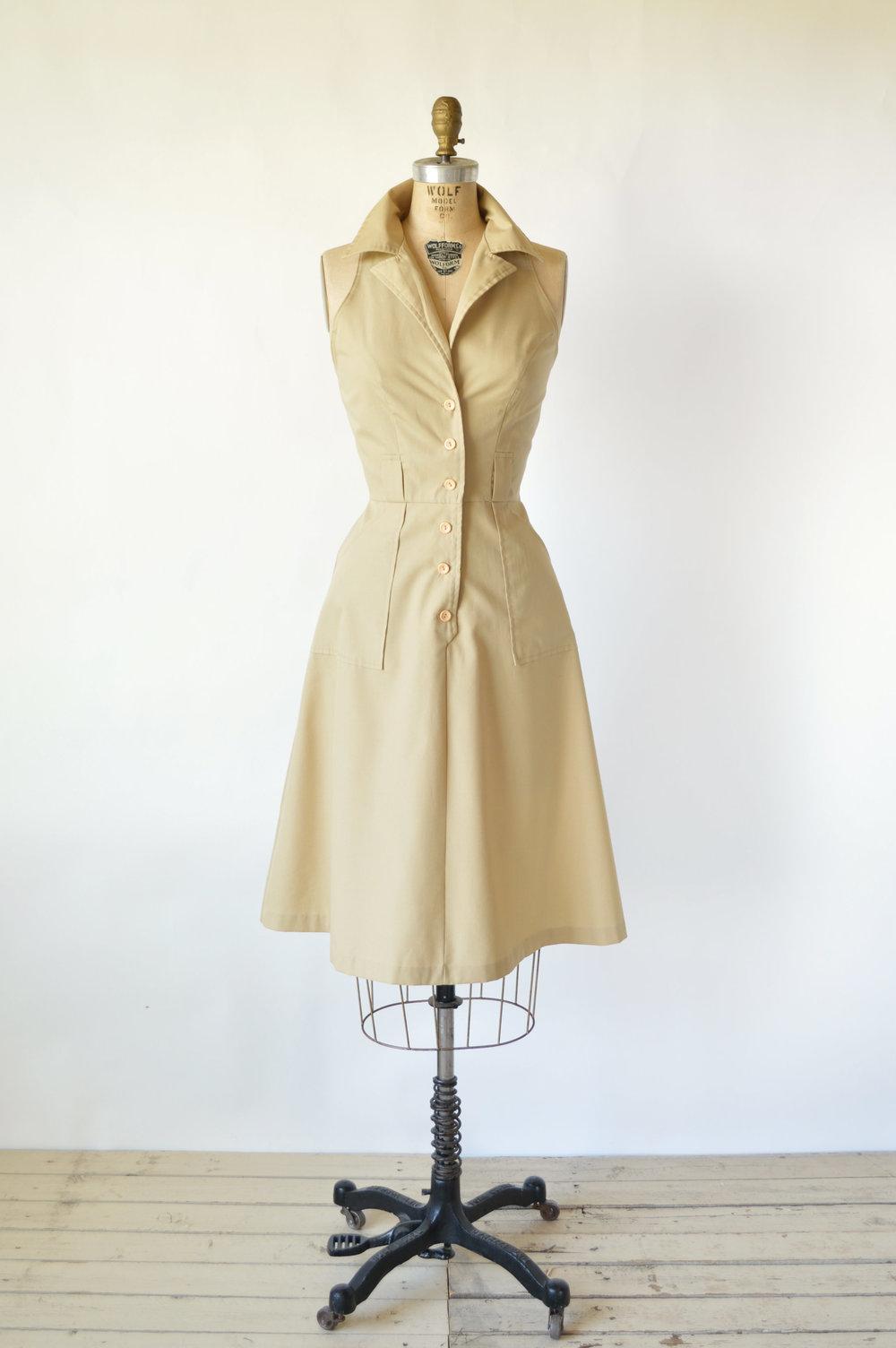 Vintage 1970s Khaki Dress