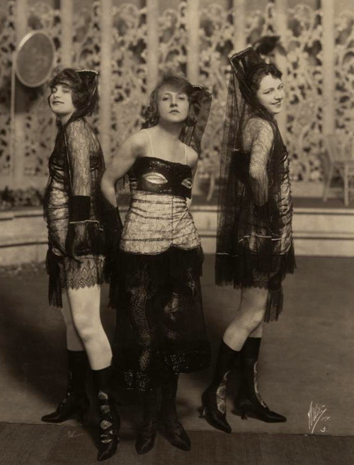 Trio of showgirls in the 1920s