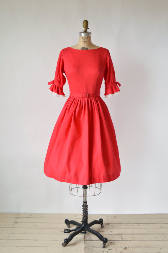 1960s red dress via Dalena Vintage