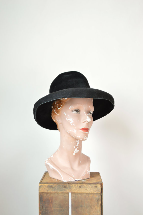 1960s black hat from Dalena Vintage