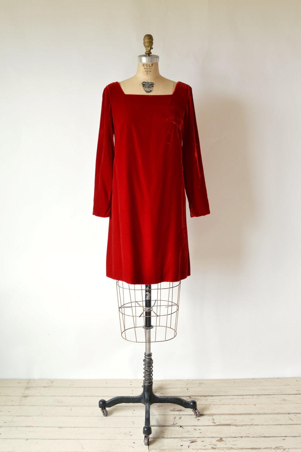 Vintage Red Velvet Holiday Dress