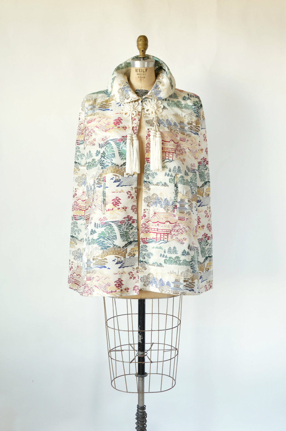 Vintage Asian Brocade Cape