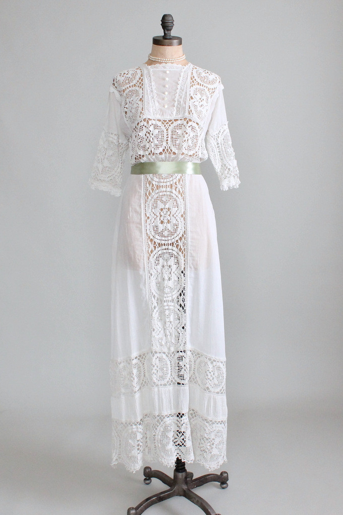 Antique Edwardian wedding dress from  Raleigh Vintage