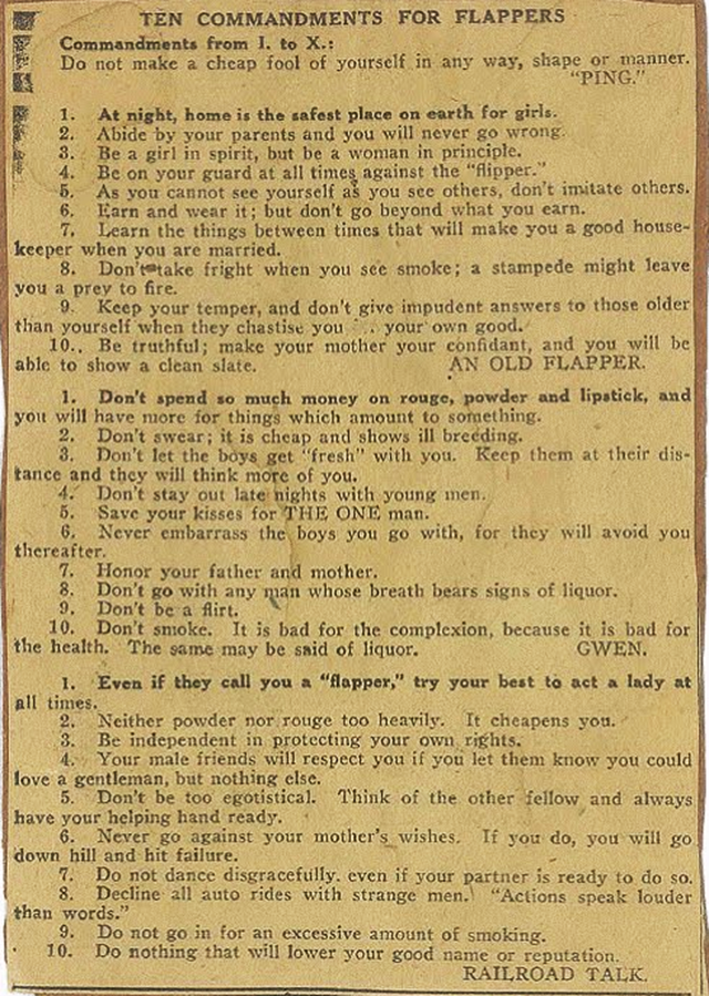 Ten Commandments for Flappers