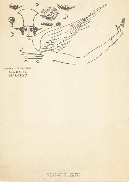 Vintage letterhead from Marcel Marceau